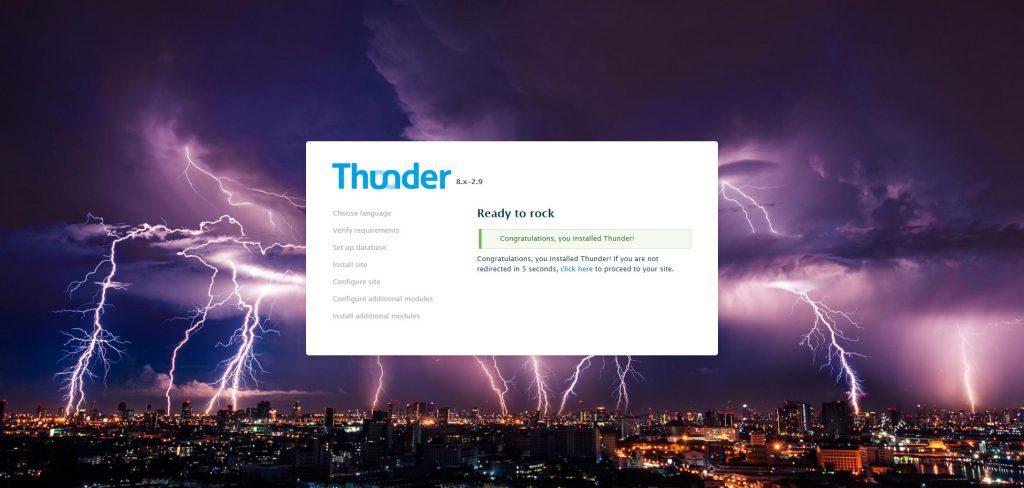 Instalación exitosa de Thunder