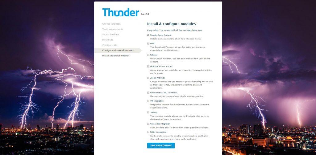 Módulos opcionales de Thunder